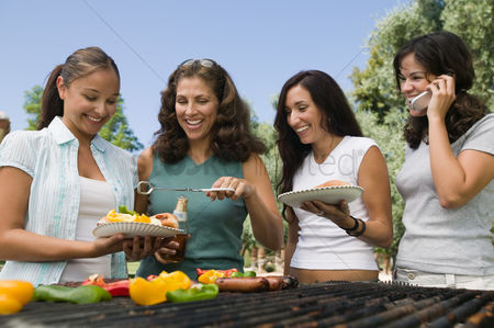 Cell phone : Four women around outdoor grill