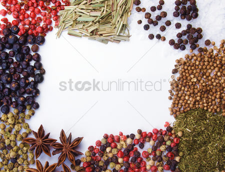 Background : Frame of diferent spices on white background