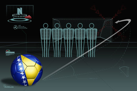Nationality : Free kick infographic with bosnia and herzegovina soccer ball
