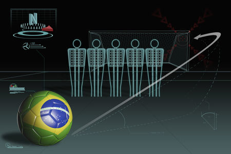 Nationality : Free kick infographic with brazil soccer ball