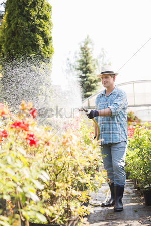 Greenhouse : Full-length of man watering plants outside greenhouse
