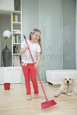 Domesticated animal : Girl sweeping the floor