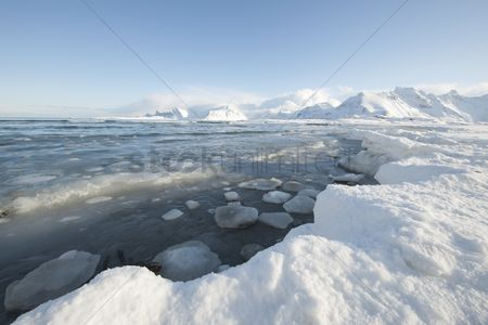 Winter : Glacial landscape on on moskensoy in the loftofen archipelago norway