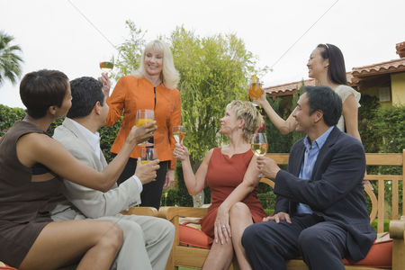 Toasting : Group of friends toasting outdoors