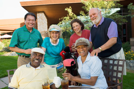 Retirement : Group of senior golfers celebrating success relaxing  portrait