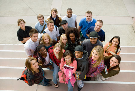 Smiling : Group of students on steps  portrait