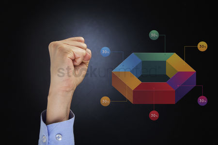 Hexagon : Hand gesture with 3d infographic chart