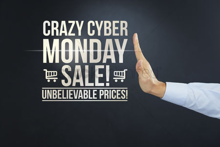 Mad : Hand gesturing towards crazy cyber monday sale