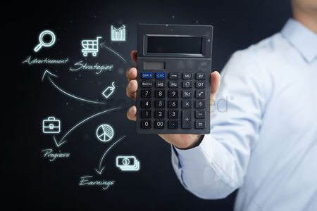 Count : Hand holding a calculator with business strategy icons