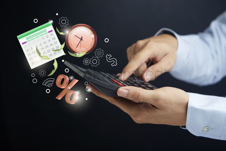 Count : Hand holding a calculator with financial planning concept