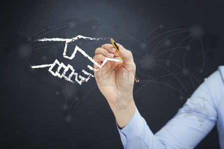 Handdrawn : Hand illustrating business deal concept