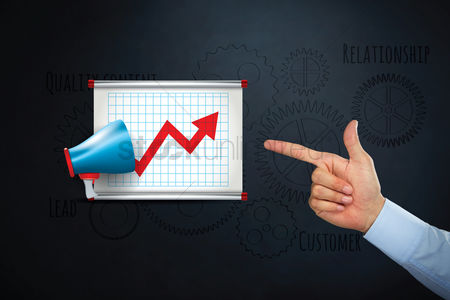 Sales person : Hand pointing at business marketing icon concept