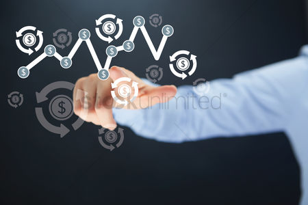 Selection : Hand pointing towards a business concept