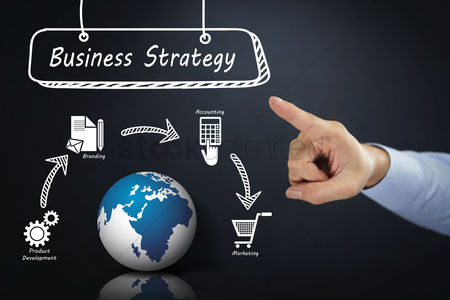 Earth  graphic vector : Hand pointing towards business strategy concept