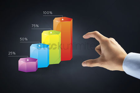 Hexagon : Hand presenting a business diagram concept