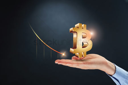 Loss : Hand presenting bitcoin currency sign with loss concept
