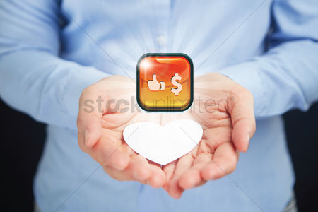 Heart shapes : Hand presenting business finance button concept