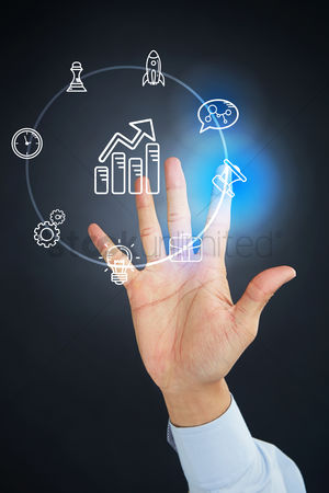 Alert : Hand presenting business marketing concept