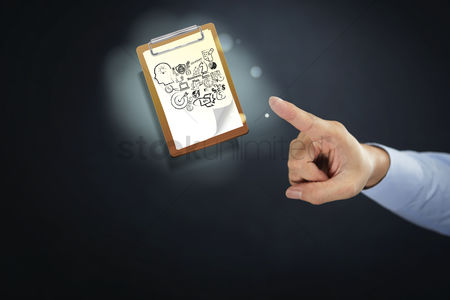 Handdrawn : Hand presenting business plan concept