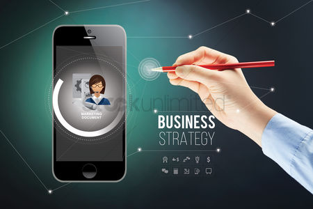 Dollar sign : Hand presenting business strategy on smartphone with stylus concept