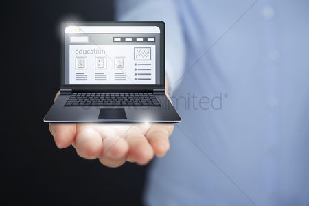 Connections : Hand presenting laptop with education concept
