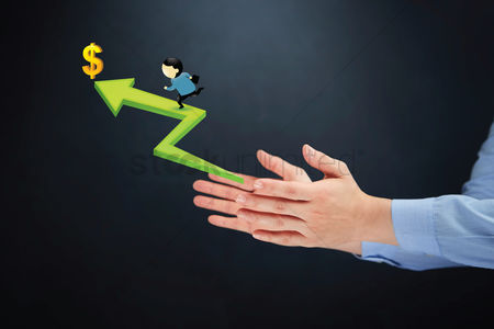 Dollar sign : Hand presenting man reaching financial goals concept