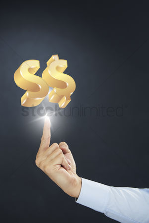 Hand Presenting Singapore Dollar Currency Symbol Concept Stock Photo
