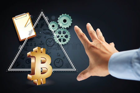 Try : Hand reaching out for bitcoin currency symbol