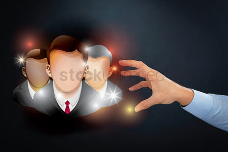 Try : Hand reaching out towards businessmen