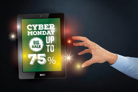 Try : Hand reaching out towards tablet with cyber monday concept