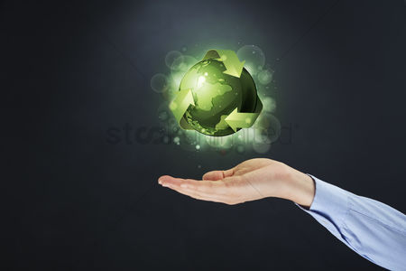 Land : Hand showing recycling concept