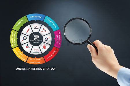 Infographic : Hand with magnifying glass on online marketing strategy concept