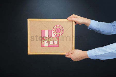 Cork board : Hands holding a board with retail store icon