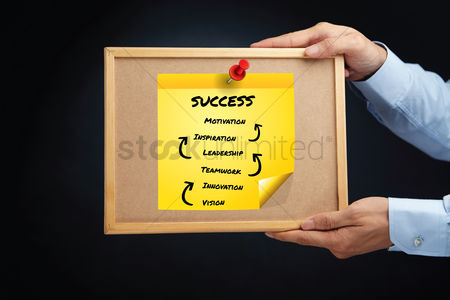 Steps : Hands holding a board with steps to success