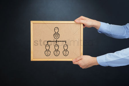 Cork board : Hands holding a cork board with corporate hierarchy icon