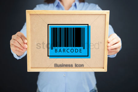 Cork board : Hands holding board with a barcode icon