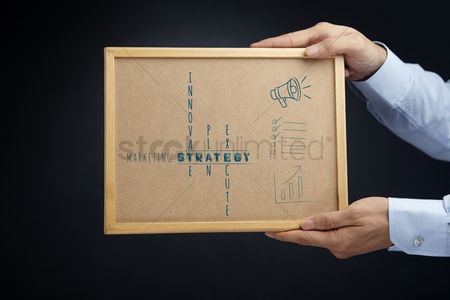 Instruction : Hands holding board with marketing strategy concept