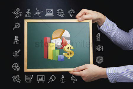 Client : Hands holding chalkboard with business growth concept