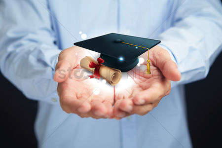 Proud : Hands presenting education concept