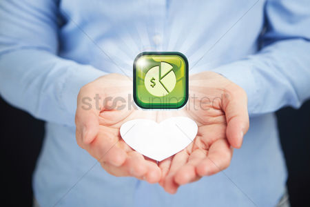 Heart shapes : Hands presenting financial chart icon
