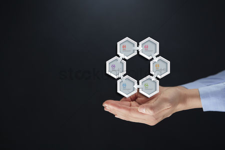 Hexagon : Hands presenting geometrical infographics concept