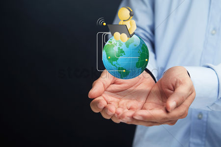 Earth  graphic vector : Hands presenting global networking concept