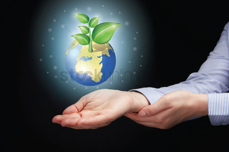 Earth  graphic vector : Hands presenting globe with eco friendly concept