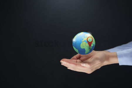 Earth  graphic vector : Hands presenting globe with leaves concept