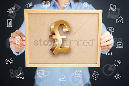 Cork board : Hands presenting pound currency symbol on cork board concept