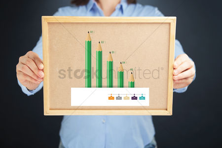 Cork board : Hands showing board with pencil bar charts
