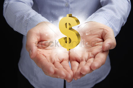 Dollar sign : Hands with a dollar sign