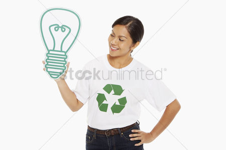 Bidayuh ethnicity : Happy woman holding up a cardboard light bulb