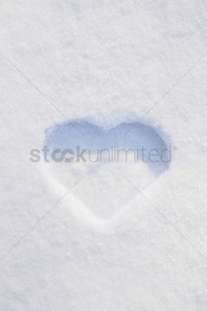 China : Heart-shaped print in snow