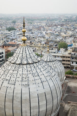Weathered : High angle view of domes on a mosque  jama masjid  new delhi  india